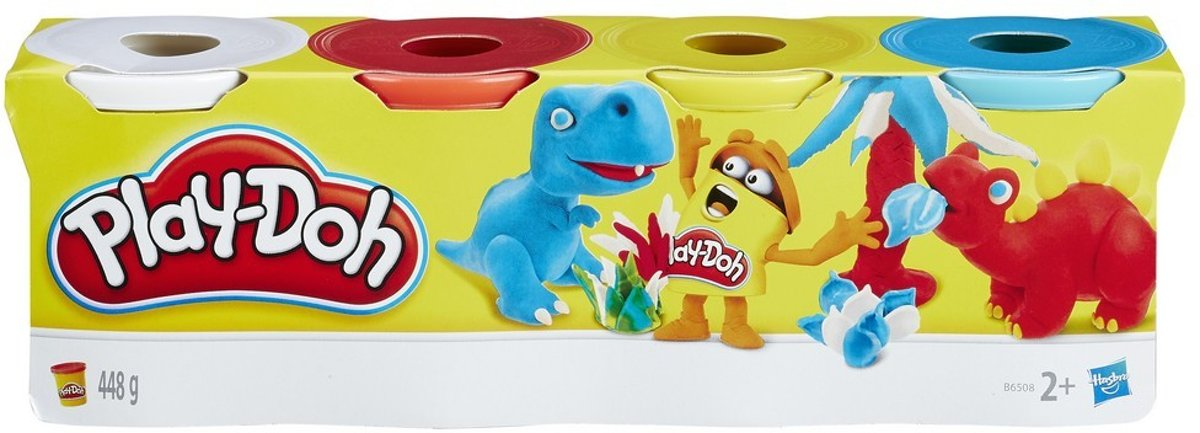 Play-Doh 4-pack Wit-Rood-Geel-Blauw