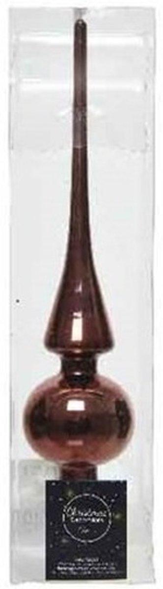 Roodbruin glazen piek glans 26 cm - Roodbruine kerstboom versieringen kopen