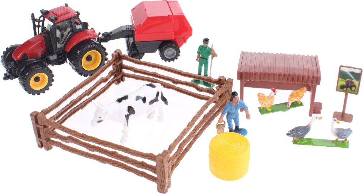 Toi-toys Boerderij Speelset Rode Tractor Met Balenpers kopen