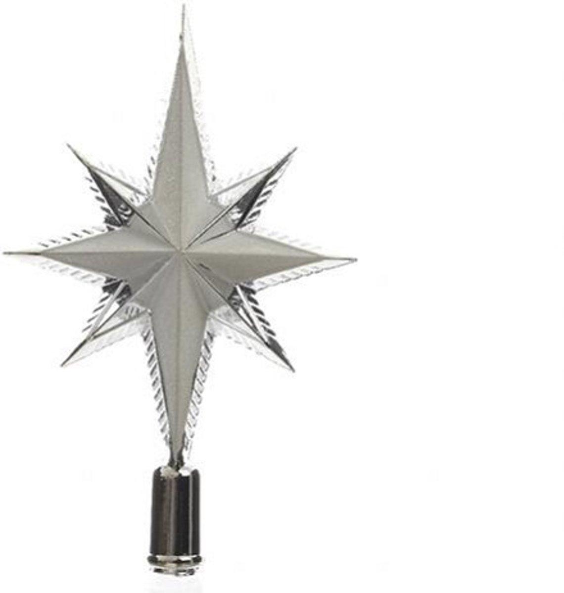 Piek kunststof ster glitter zilver Kerstartikelen kopen