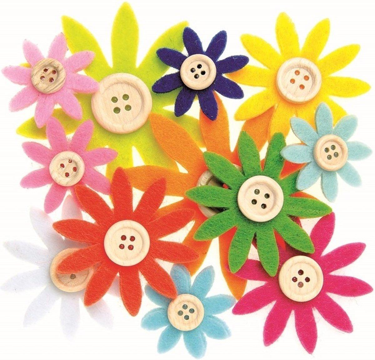 Hobby vilt 12 gekleurde vilten bloemen met knoop 3,5-7 cm kopen