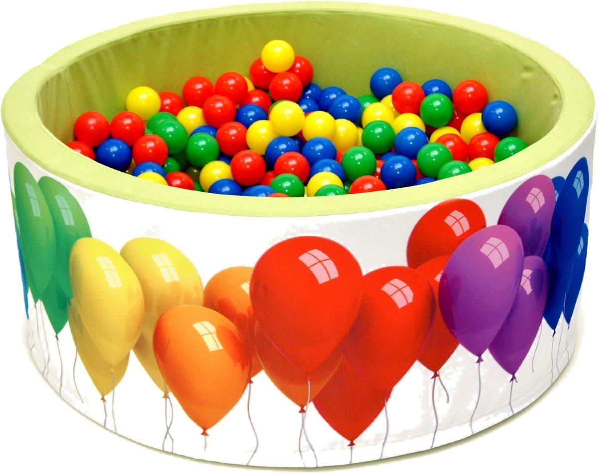 Ballenbak | Wit en groen met balonnen incl.  200 gele, groene, blauwe en rode ballen