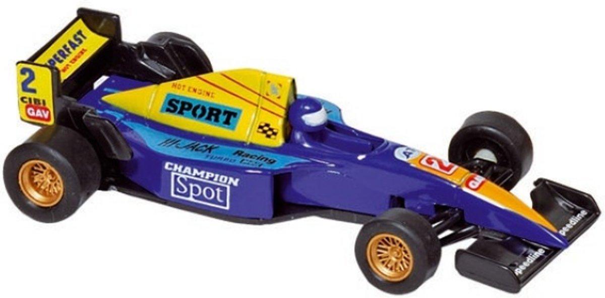 Welly Metalen auto: formule 1 racer blauw 10,7 cm