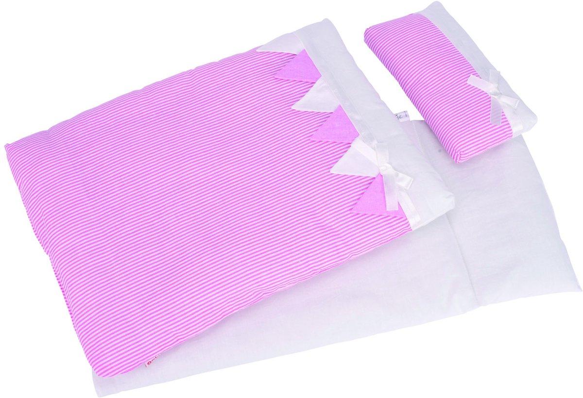 Goki Poppen Beddengoed Strepen Roze
