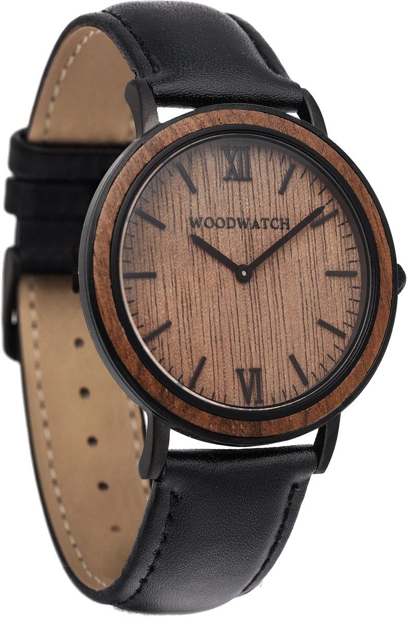WoodWatch | Brown Walnut | Horloge van hout en staal met zwart leren band kopen