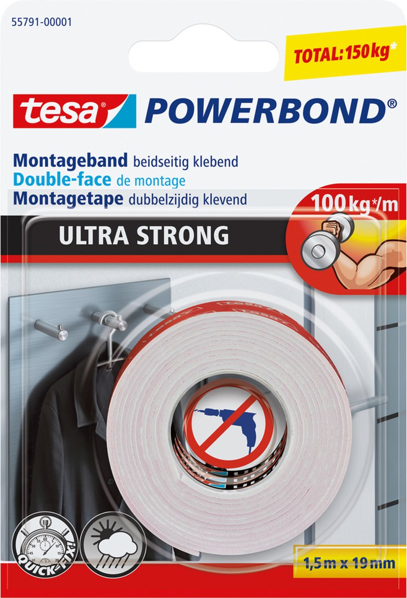 Tesa 55791 Powerbond Ultra Strong montagetape formaat 1,5 m x 19 mm blisterverpakking