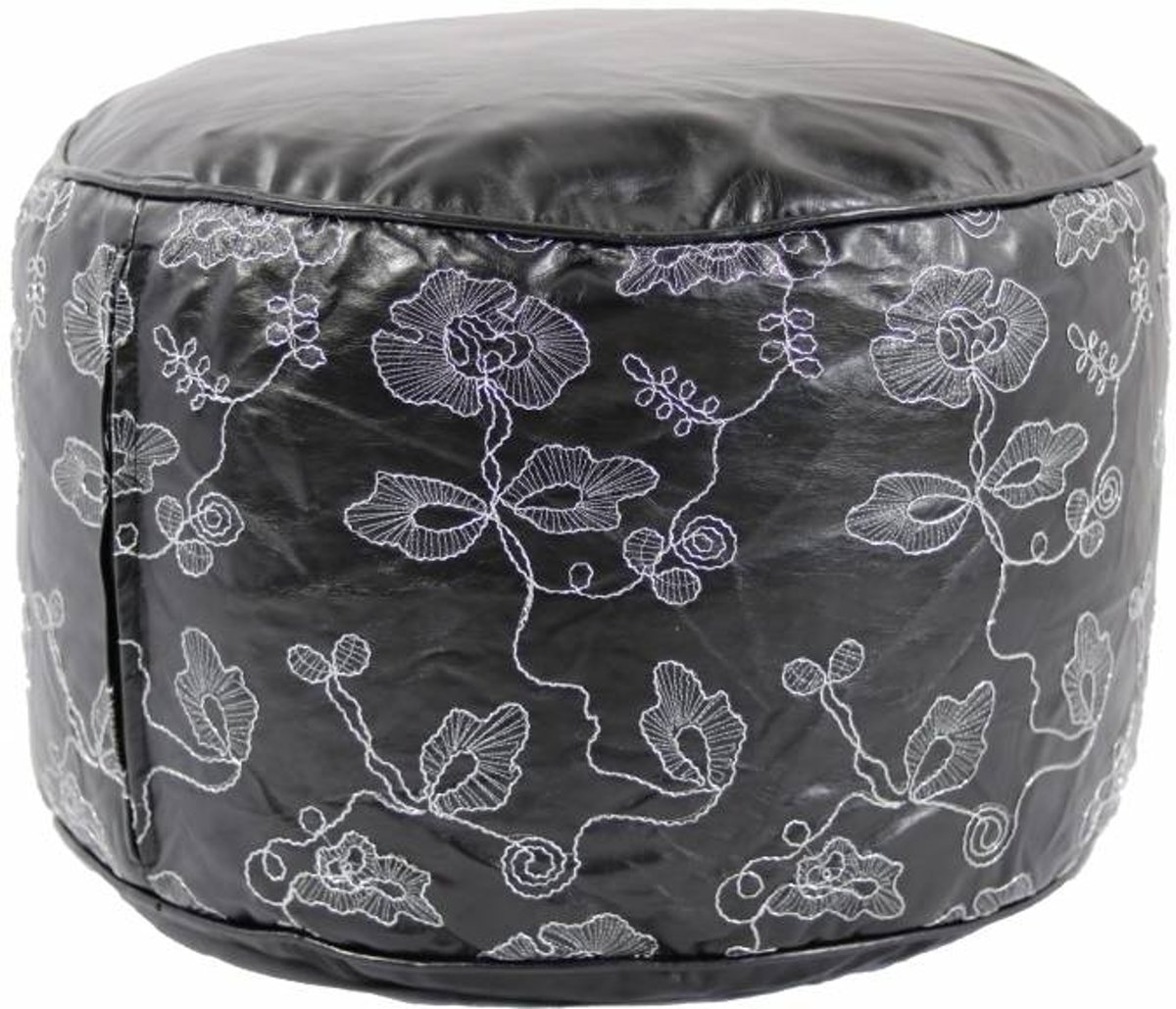 Poef Leather Look Embroidery Zwart/Wit kopen