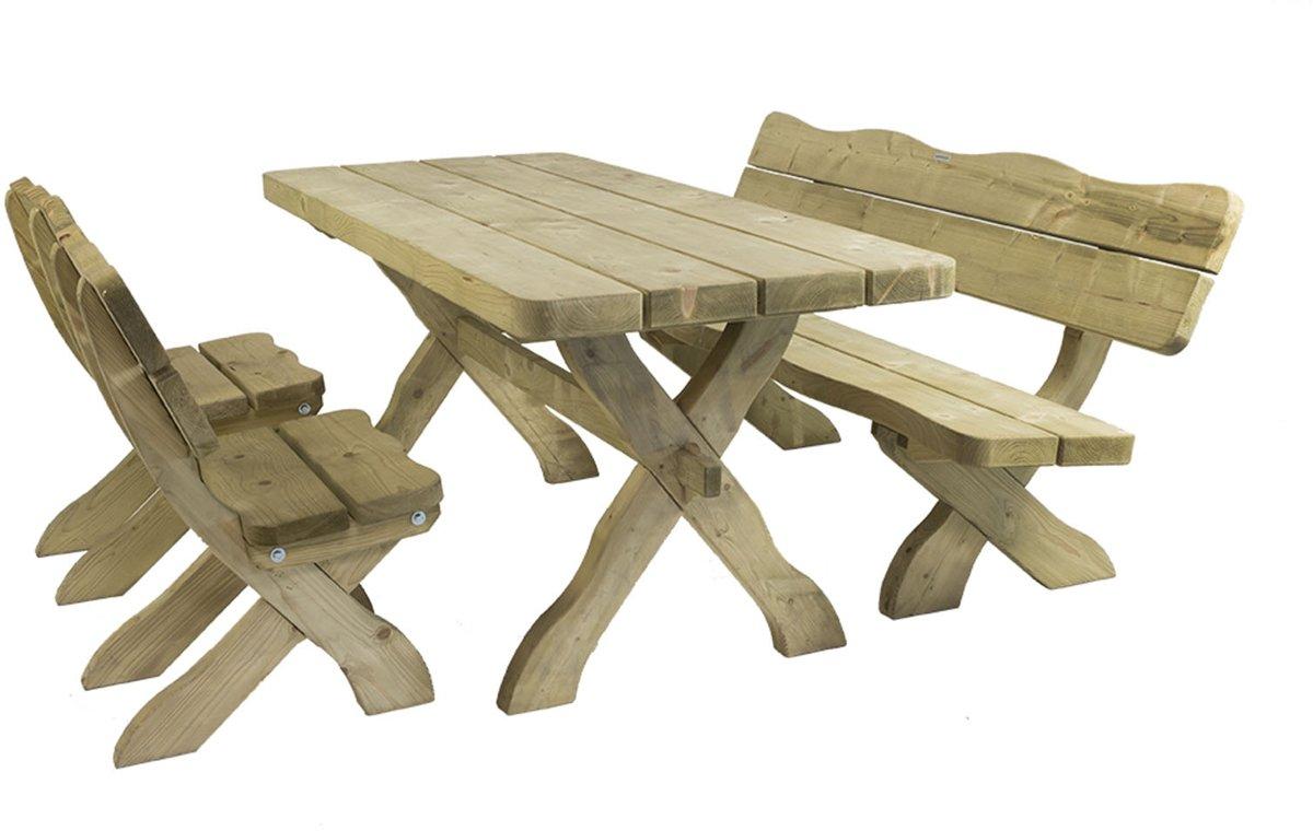 MaximaVida houten tuinset Provence 170 cm met 1 tafel 2 stoelen en 1 bank