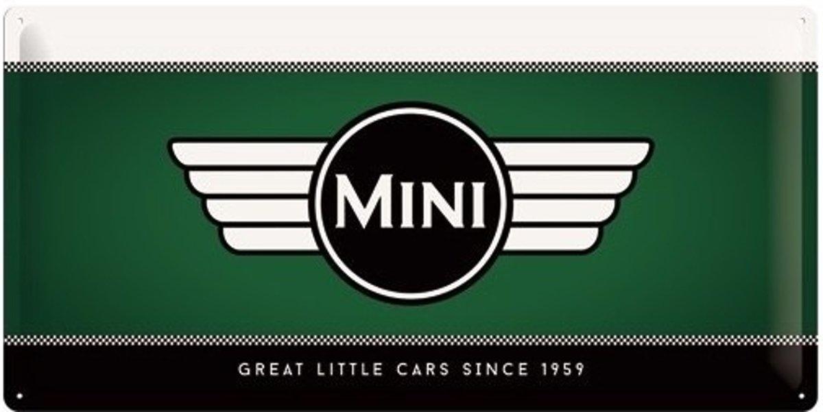 Groen muurplaatje Mini Cooper