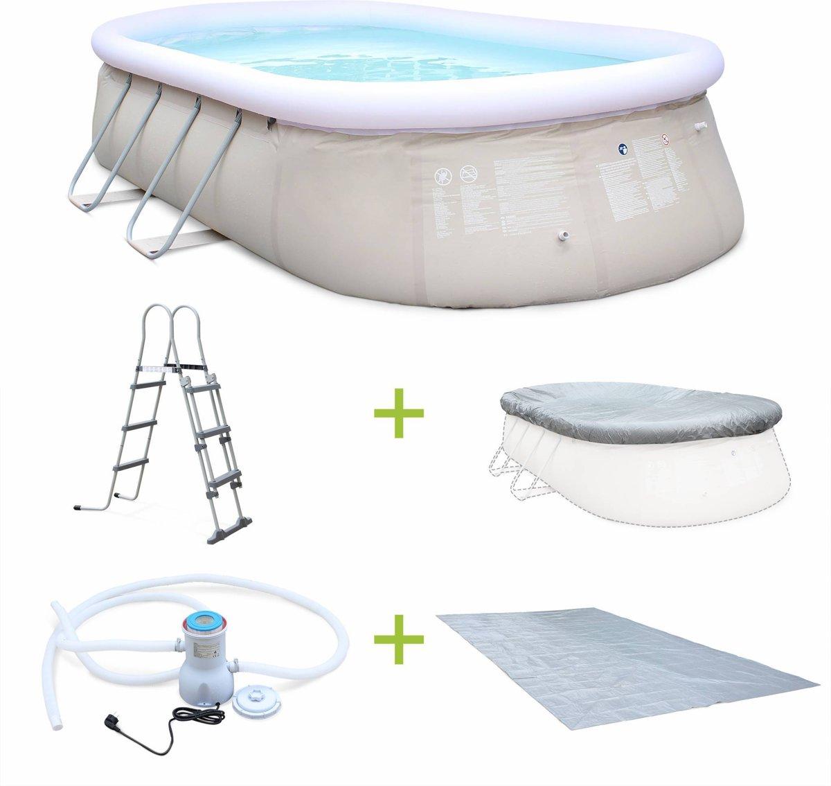 Kit groot ovaal zwembad van 16m2 ,grijs, 5,4x3m met filterpomp, dekzei