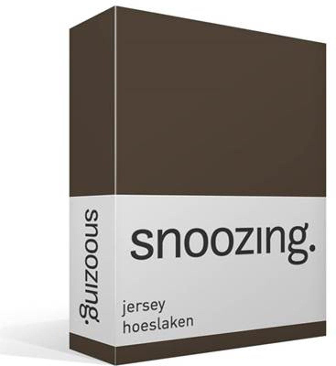 Snoozing Jersey - Hoeslaken - 100% gebreide katoen - 160x200 cm - Bruin kopen