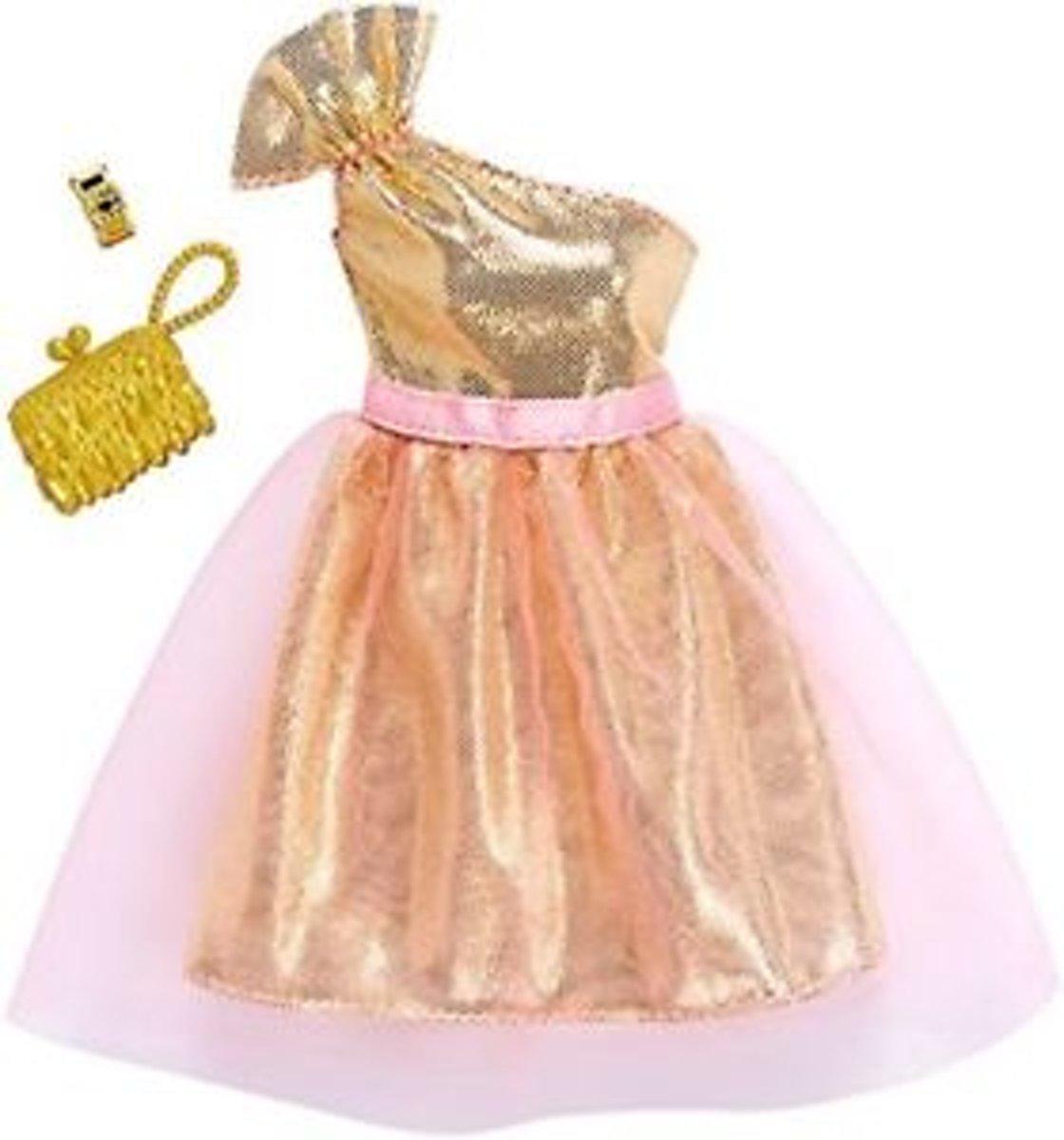 Barbie Outfit - Gouden Glitter Jurk + Accessoires