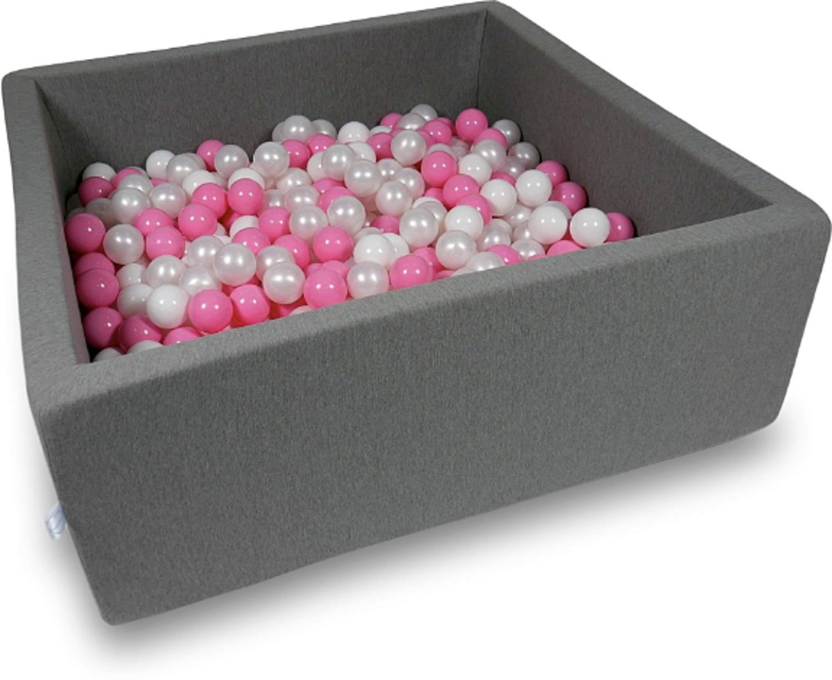 Ballenbak - 600 ballen - 110 x 110 cm - ballenbad - vierkant donker grijs