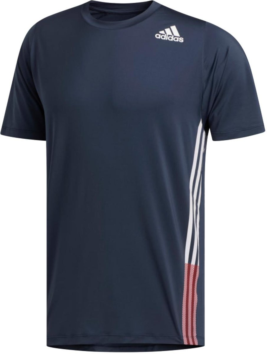 adidas FreeLift 3-Stripes shirt heren marine/rood