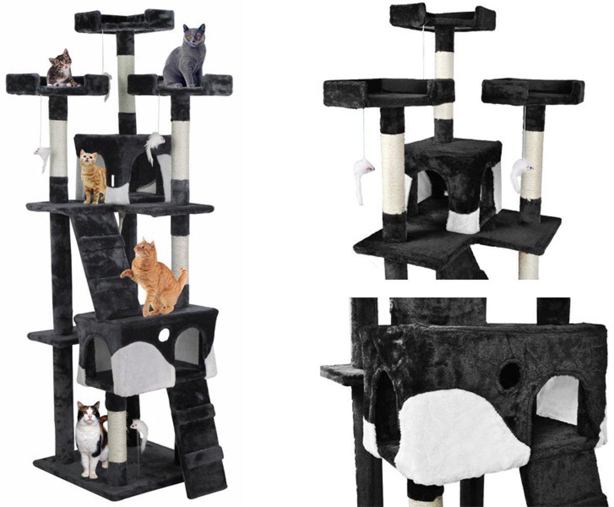 XL Katten Krabpaal- Klimpaal Kattenhuis Groot - Hoge Krabmeubel - Grote Kattenpaal - Zwart/Wit 170CM