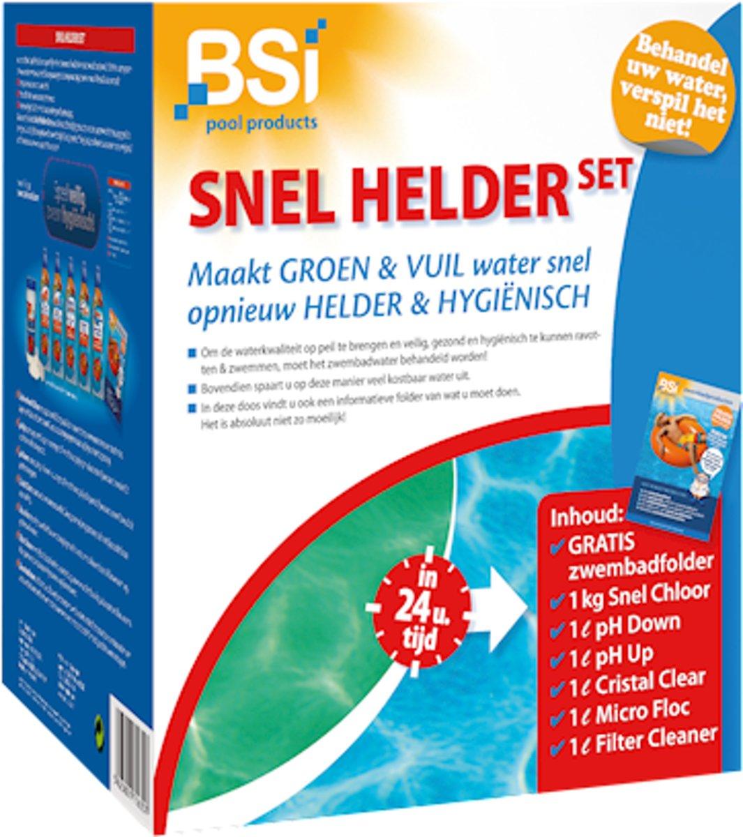 Snel helder set - de kit tegen vuil en groen water in het zwembad