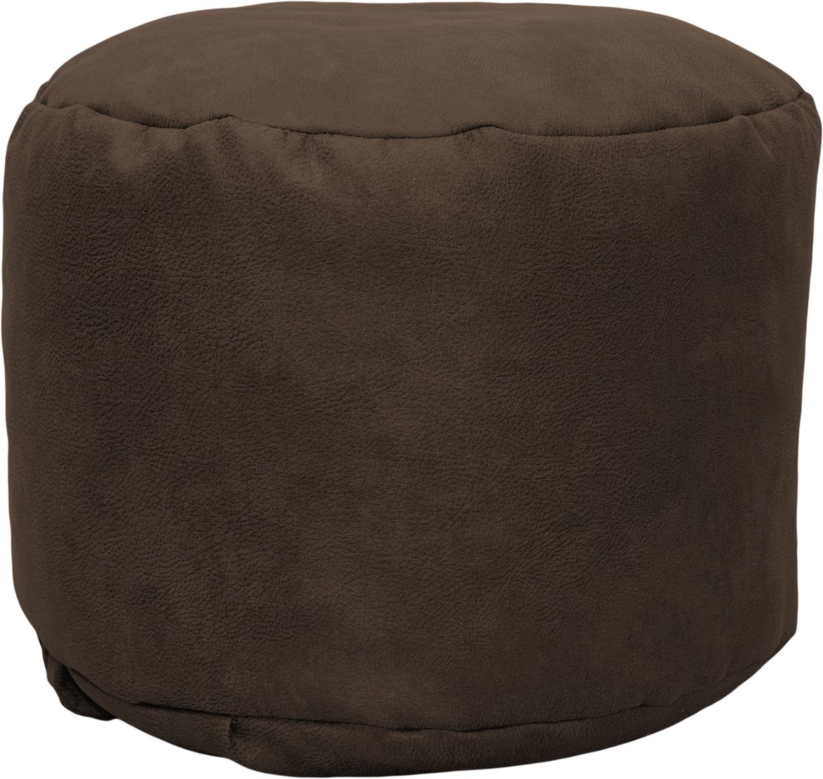 Drop & Sit Leather look poef Rond (50 x 50 x 42 cm) - Tobacco kopen