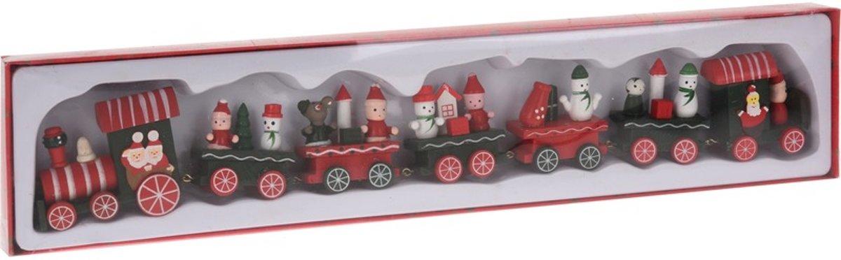 Kersttrein met wagonnetjes van hout 41 cm kopen