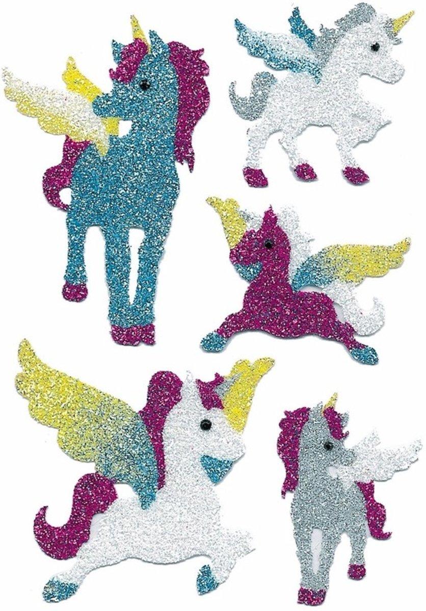 Eenhoorn glitter kinder stickers 2 vellen - agenda of poezie album stickers