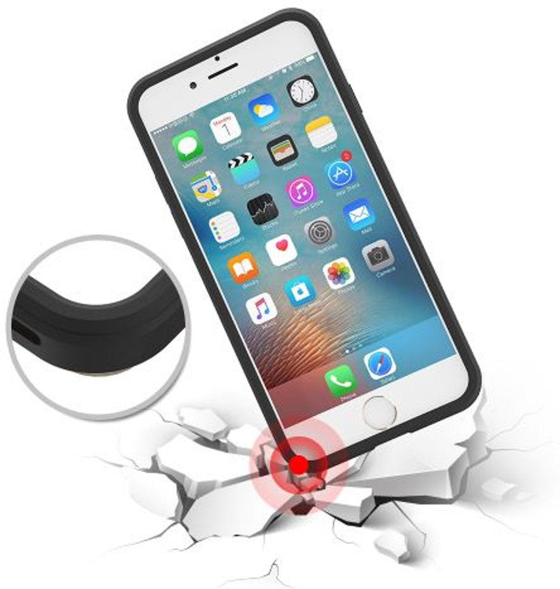 ace4423d97f bol.com   iPhone 5 5s SE hybrid case hoesje met ruimte voor 2 pasjes -  zilver