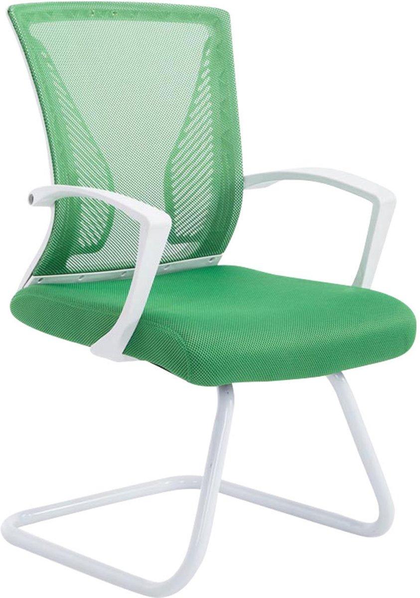 Clp Moderne bezoekersstoel BONNIE vergaderstoel, metalen cantilever met armleuning, netbekleding, belastbaar tot 130 kg - onderstel wit, bekleding groen kopen