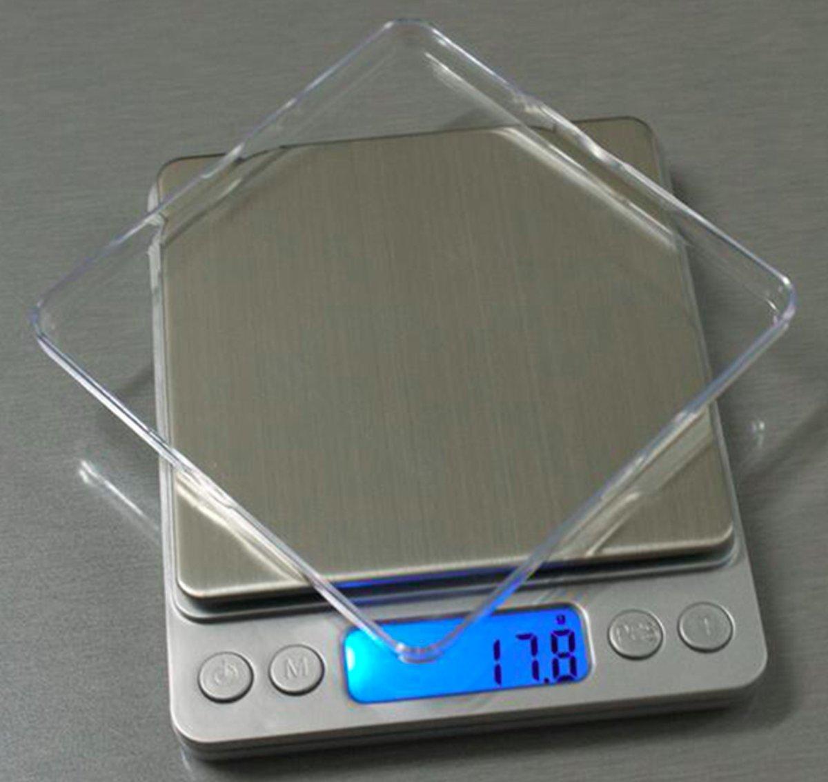Keukenweegschaal Digitaal met Kom - RVS Precisie Weegschaal tot 500g x 0.01g