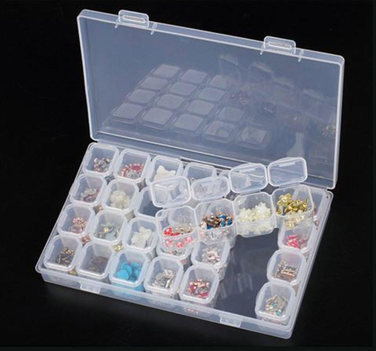 Transparante opbergbox met 28 uitneembare vakjes kopen