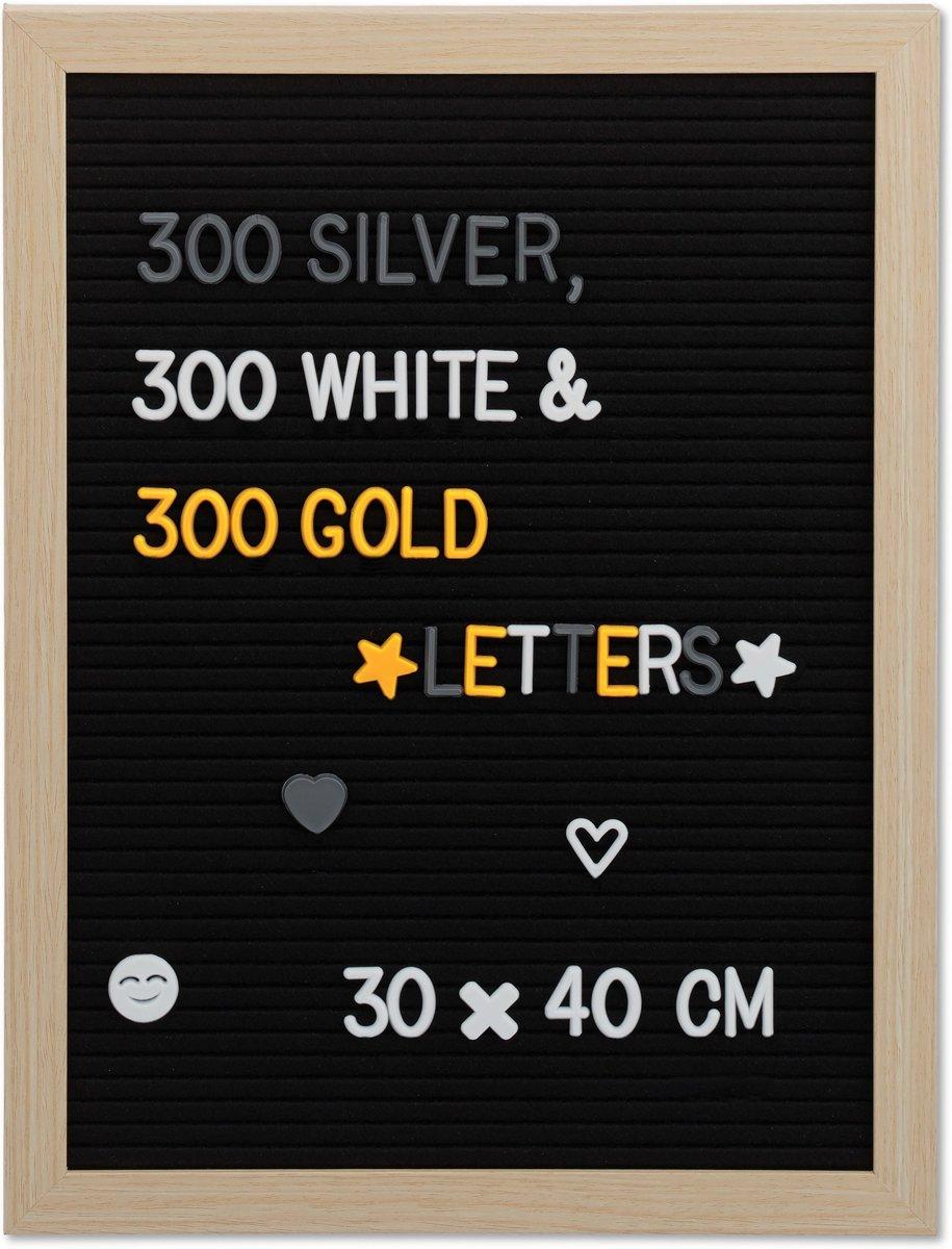 relaxdays letterbord met letters - 30 x 40 cm - letterboard - tekstbord met 900 tekens kopen