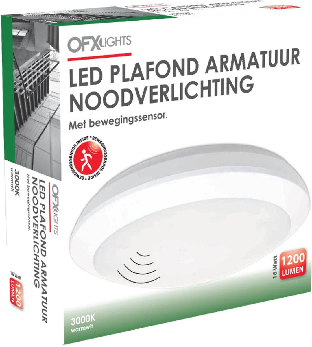 LED Plafondarmatuur + Noodverlichting 16W 3000K + SENSOR kopen
