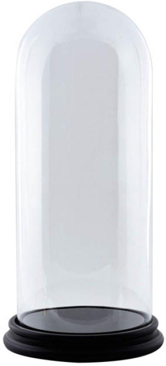 Glazen stolp met zwart houten voet H 40 cm x D 17 cm kopen