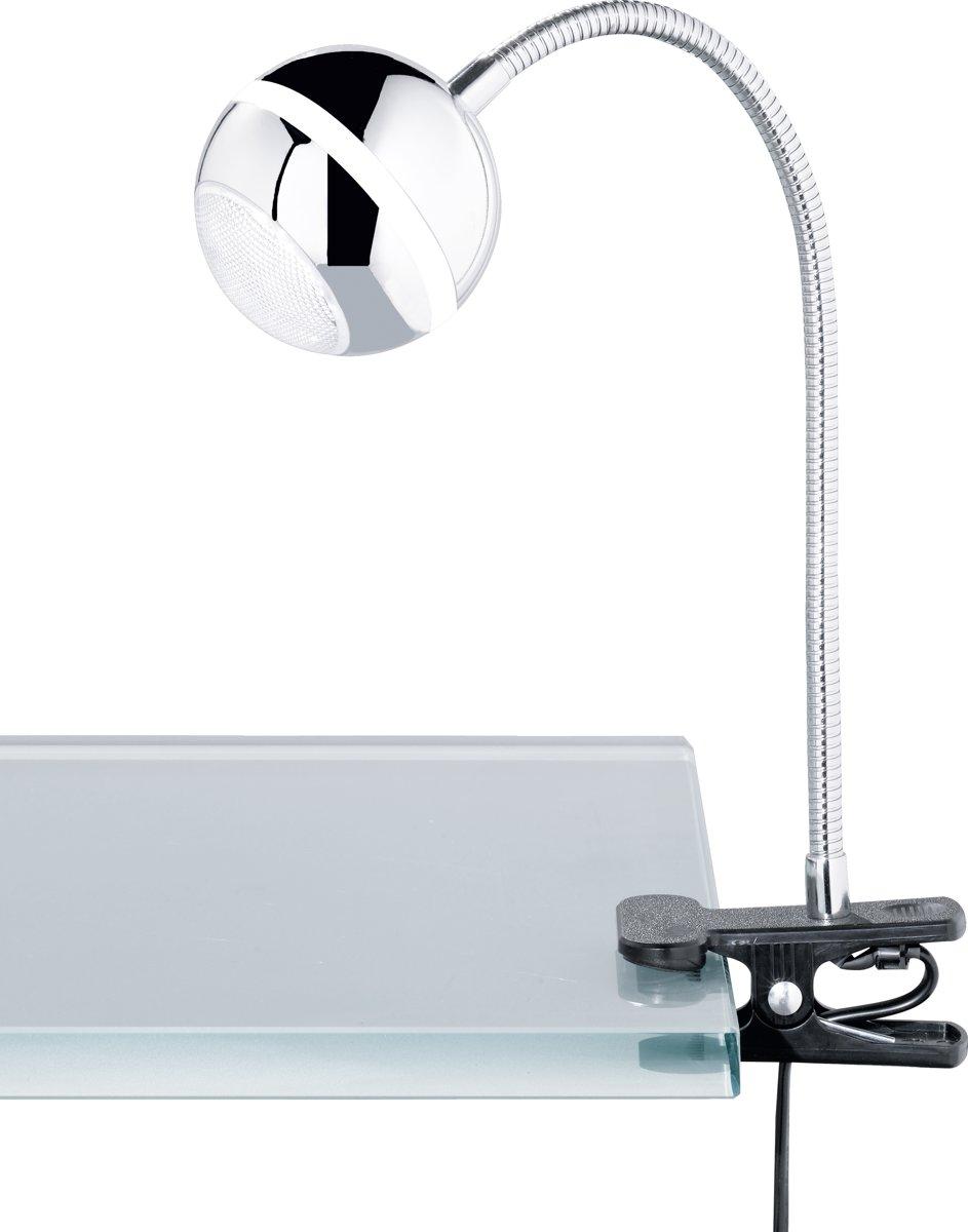 TRIO, Klemlamp, Baloubet incl. 1 x LED,SMD,3,8 Watt,3100K,350 Lm. Armatuur: Kunststof, Chroom Ø:8,0cm, H:44,0cm Snoerschakelaar,Flexibel kopen