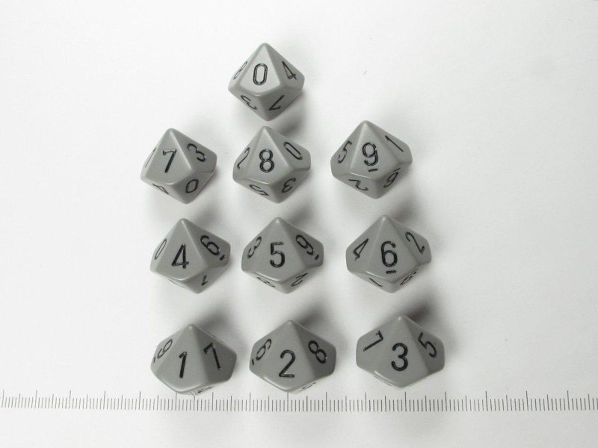 Set 10 10-zijdig, Chessex Opaque Grey w/black