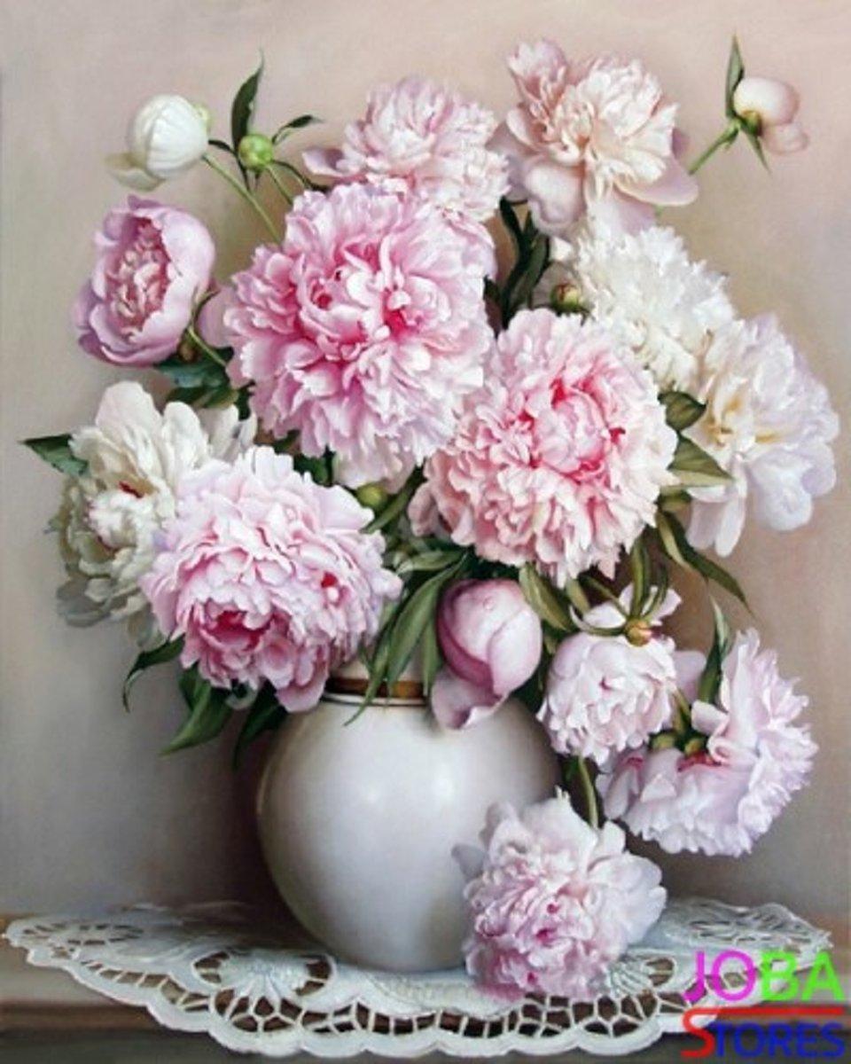 """Schilderen op nummer """"JobaStores®"""" Roze Bloemen - 40x50cm (inclusief lijst) kopen"""