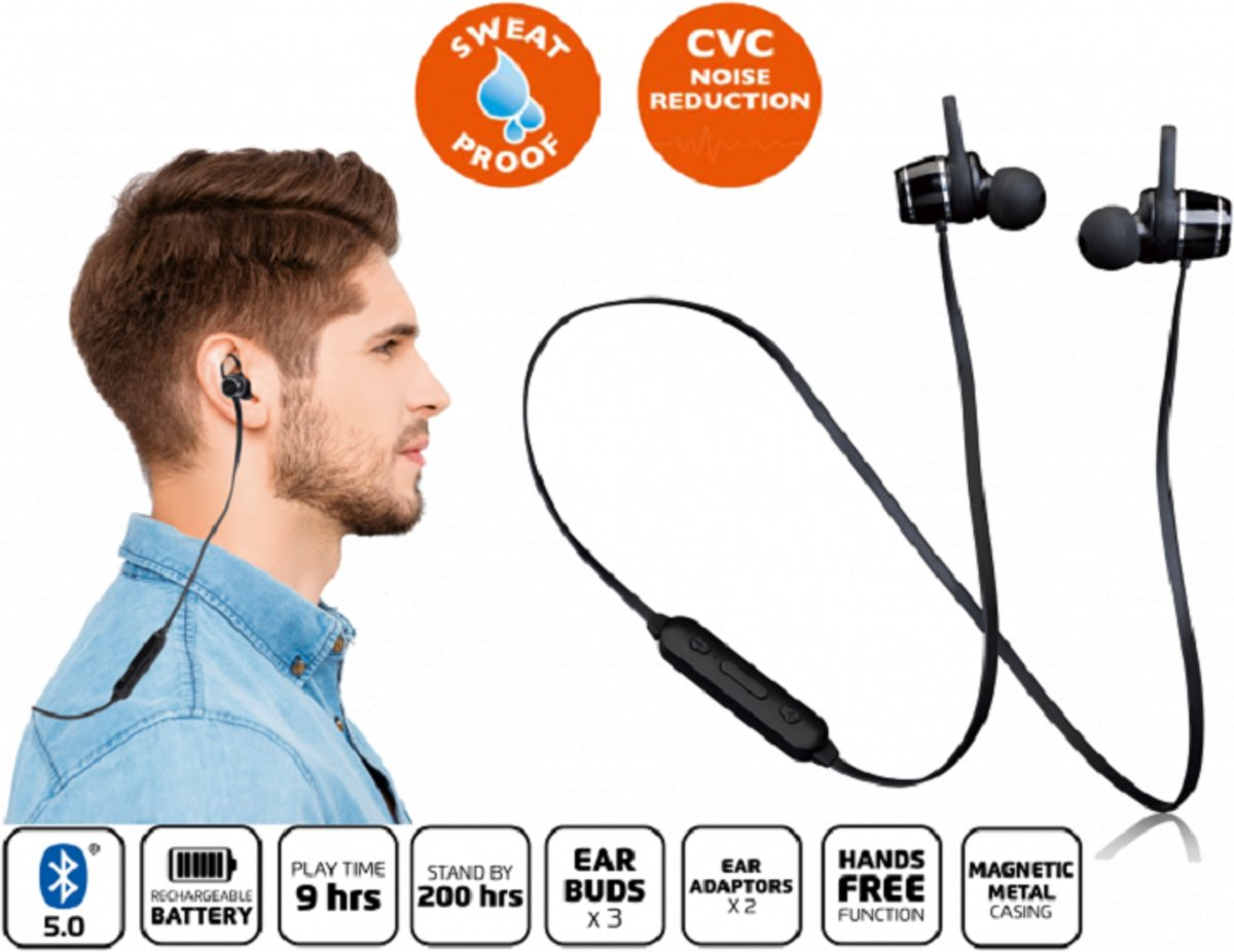 Lenco EPB-030 - Draadloze oordopjes lichtgewicht met bluetooth en sweatproof design - Zwart kopen
