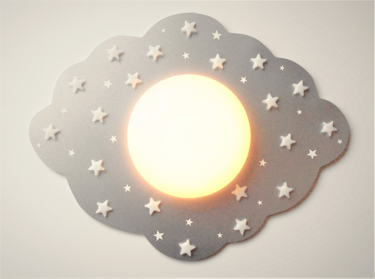 Funnylight kids lamp LED wolk zilver- mooie XL kids plafonniere met witte glow in the dark sterren voor de baby en kinder kamer