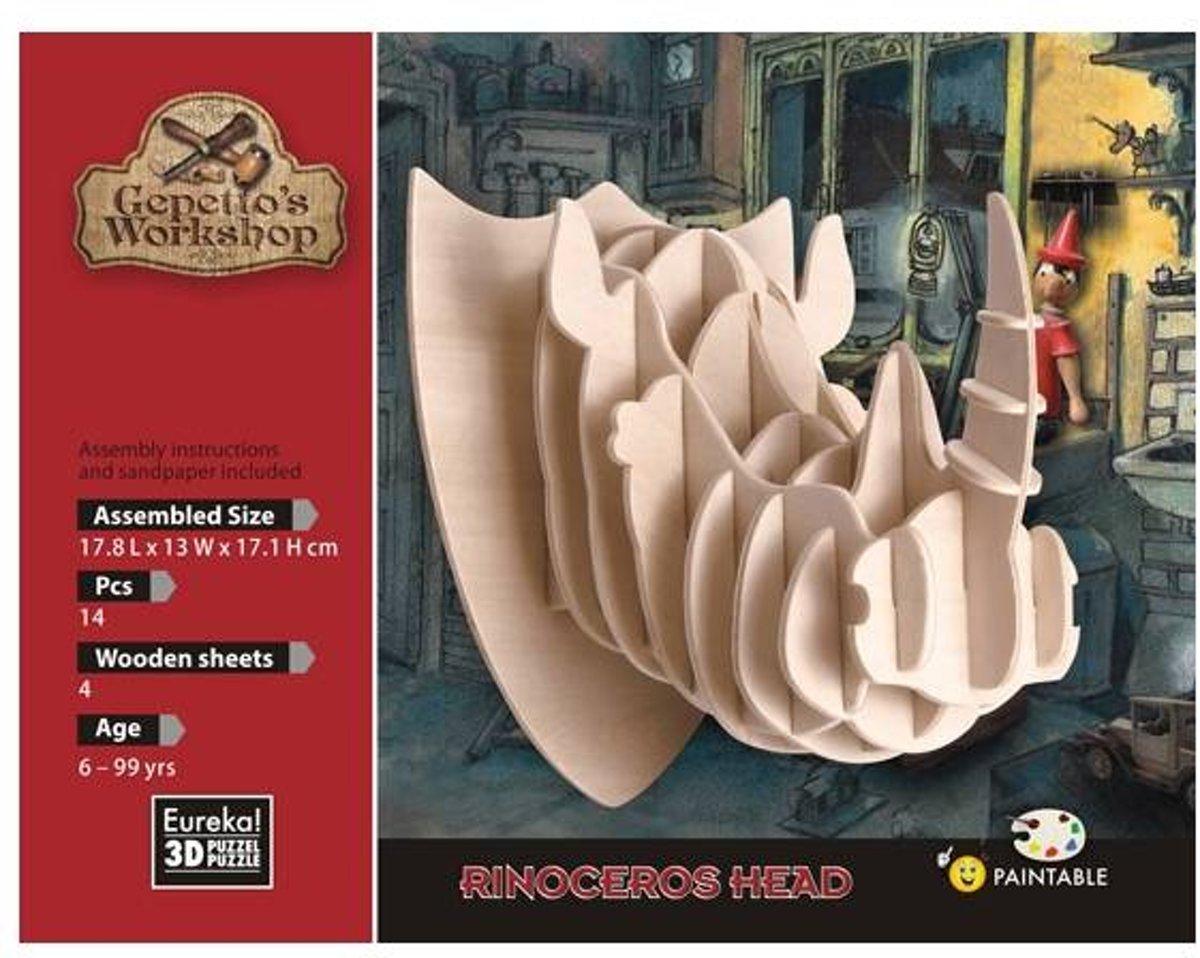 Houten Knutselspullen Rinoceros Head