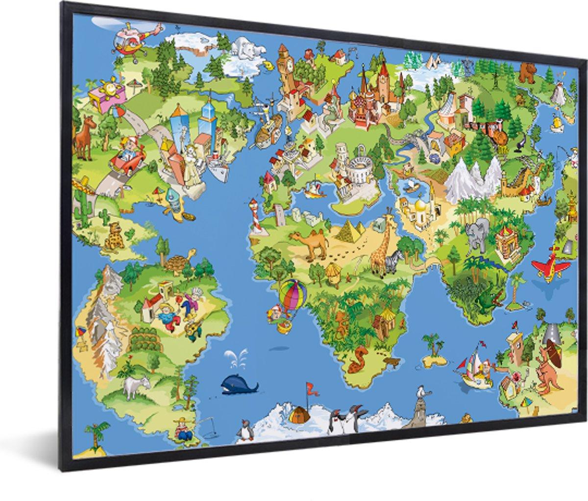 Kinder wereldkaart dieren muurdecoratie in lijst zwart 60x40 cm - Wereldkaarten.nl kopen