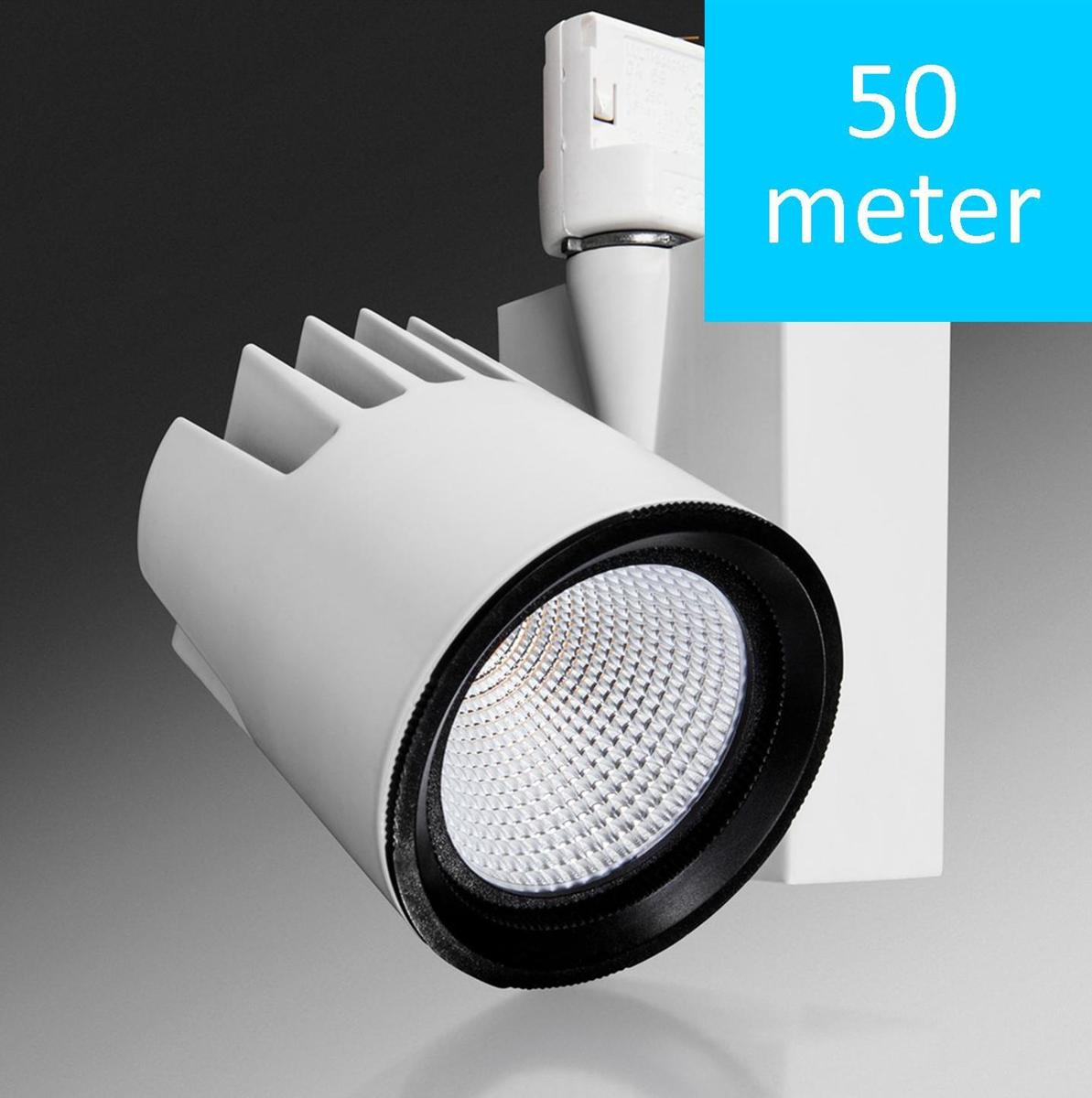 Verbatim Mitsubishi 52470 50Stuks=50Meter LED 3 Fase Spanningsrail  Tracklight 24W 3000K 2400lm 45D White kopen