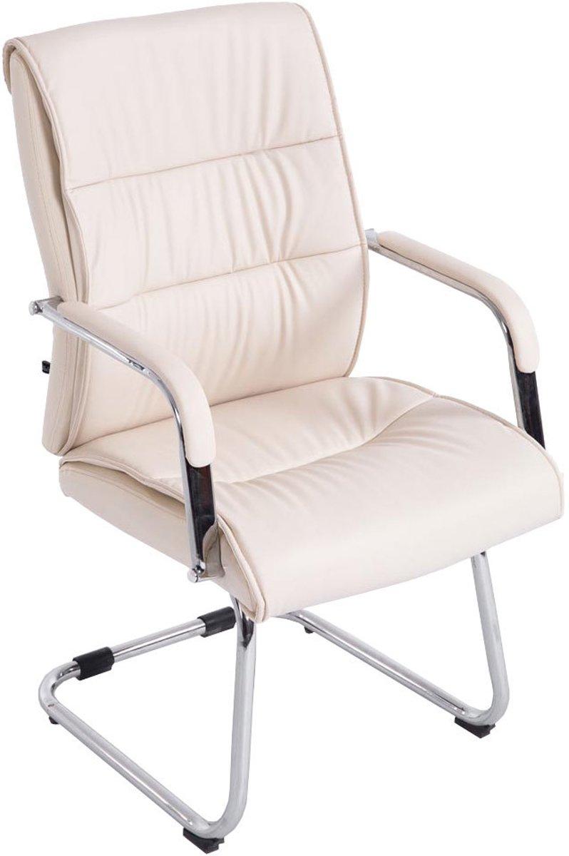 Clp Bezoekersstoel, conferentiestoel, vergaderstoel SIEVERT - belastbaar tot 136 kg, verchroomde cantilever met kunstleren zit - creme kopen