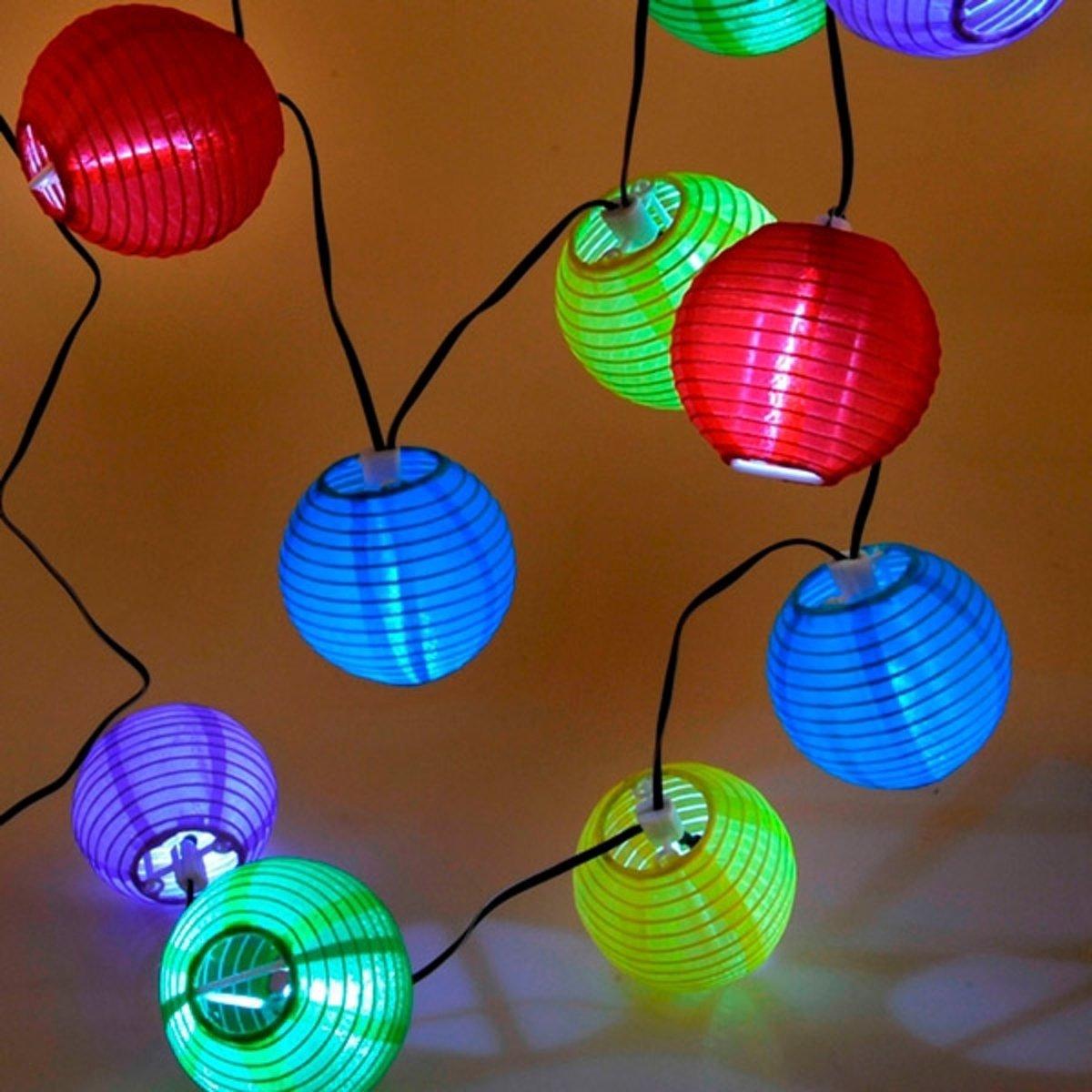 Gekleurde Lampionnen LED Snoerverlichting op Zonne Energie inclusief Batterij - 10 stuks - 4,5 m | Solar | Zonne-energie | Feestverlichting