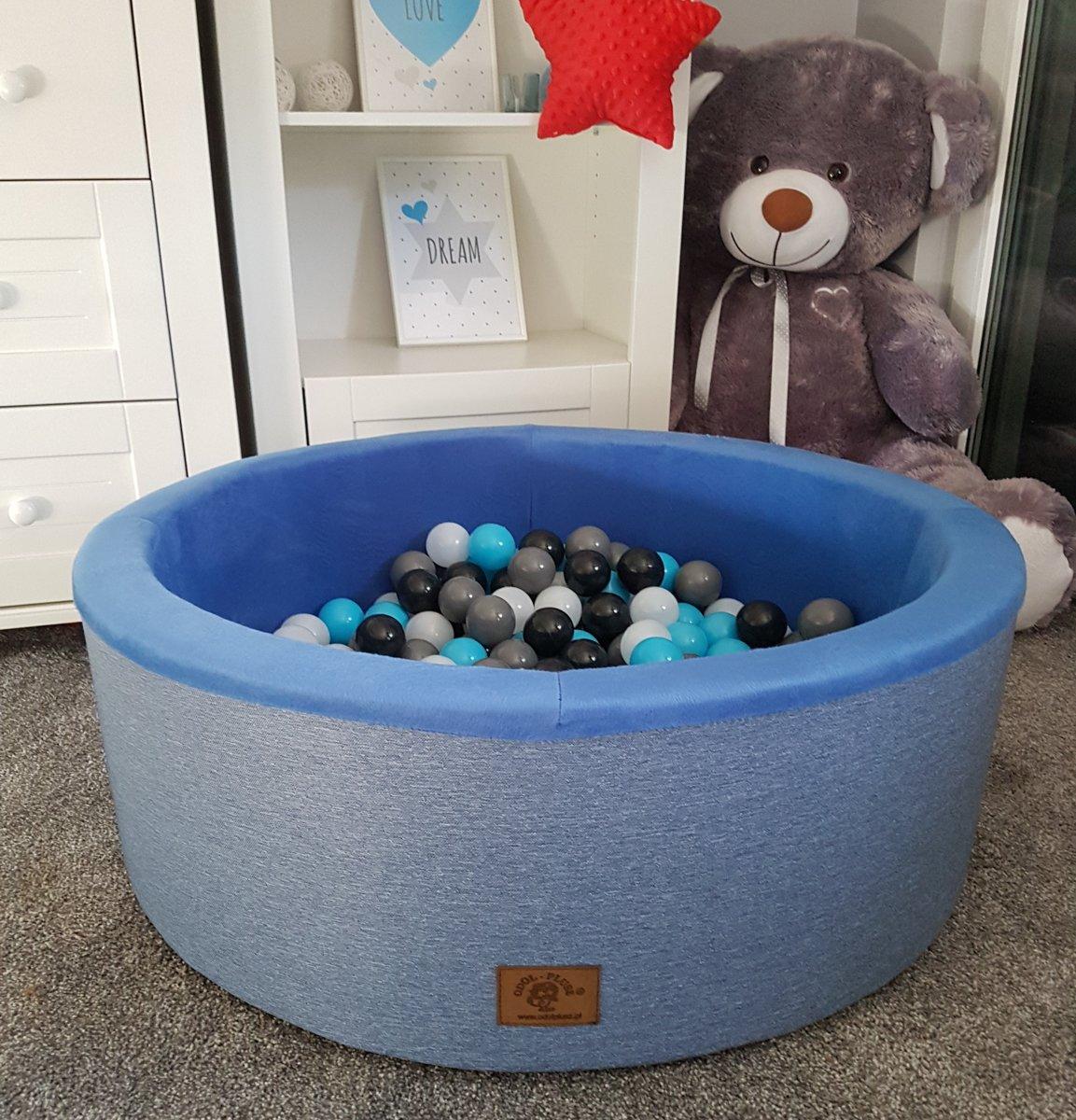 Ballenbak - stevige ballenbad - 90 x 40 cm - 200 ballen - wit, grijs, zwart, lichtblauw