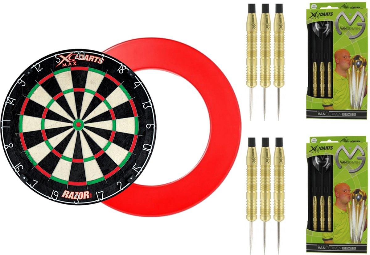 XQ Max - Razor1 Bristle - dartbord - inclusief - dartbord surround ring - Rood - inclusief 2 sets 100% Brass Michael van Gerwen - 20 gram - dartpijlen kopen