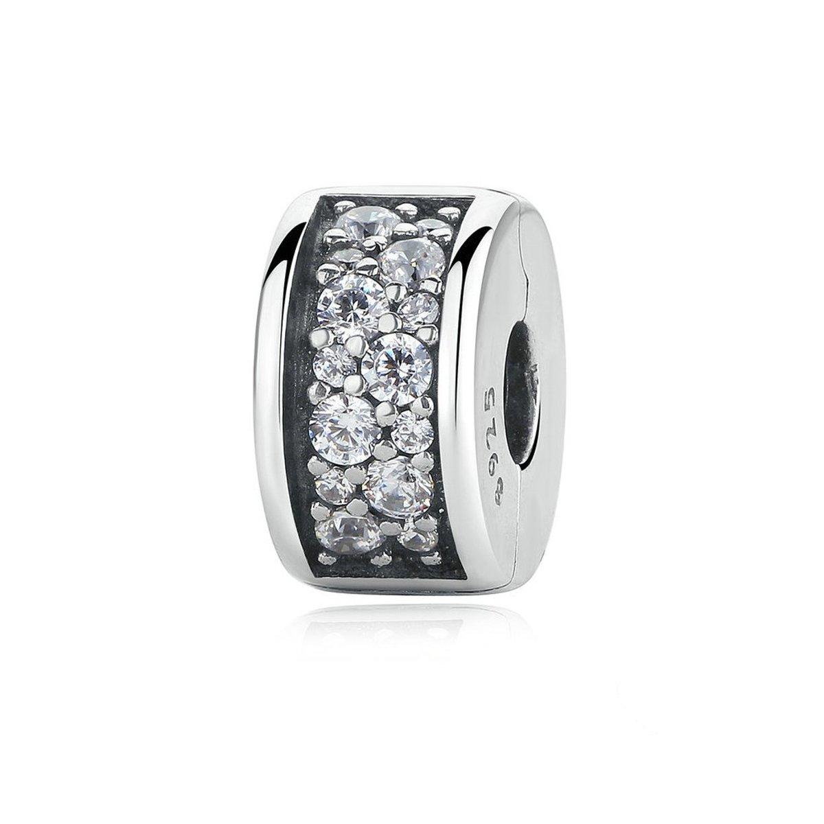 Zilveren clip  met zirkonia Glanzende elegantie kopen