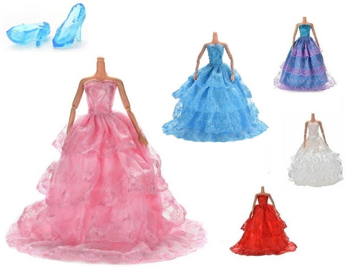Little New Finds | Barbie jurken set | Kleding voor Barbie | 6 delig | + Gratis kroontje