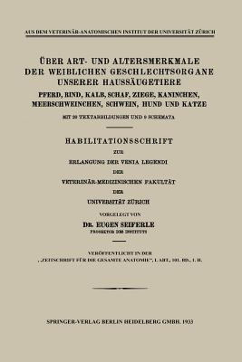 bol.com |  ber Art- Und Altersmerkmale Der Weiblichen ...