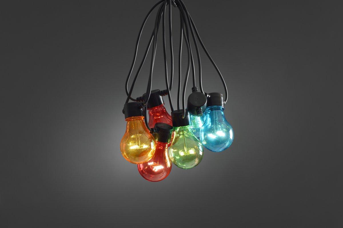 Konstsmide 2378 - Snoerverlichting - 10 lamps transp 80 LED zeer energiezuinig - 450 cm - 24V - voor buiten - multi