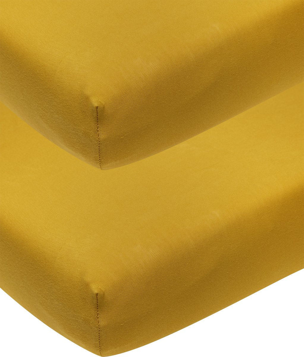 Meyco jersey hoeslaken 2-pack - 60x120 cm - okergeel