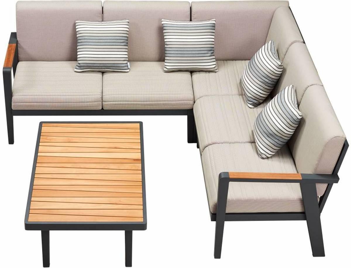 Emoti hoek loungeset 4-delig zwart kopen
