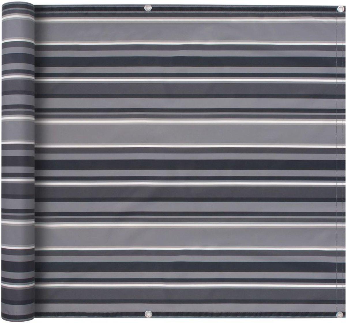 vidaXL Balkonscherm 75x600 cm oxford stof streep grijs kopen