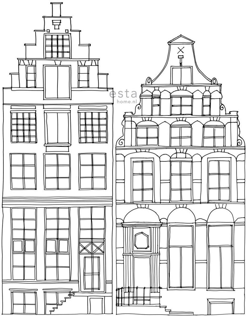ESTAhome fotobehang getekende Amsterdamse grachtenhuisjes zwart en wit - 158834 kopen